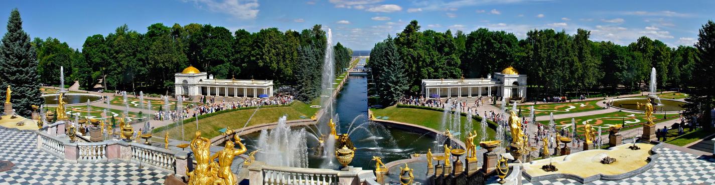 Петергоф. Малый музей и фонтаны Нижнего парка.